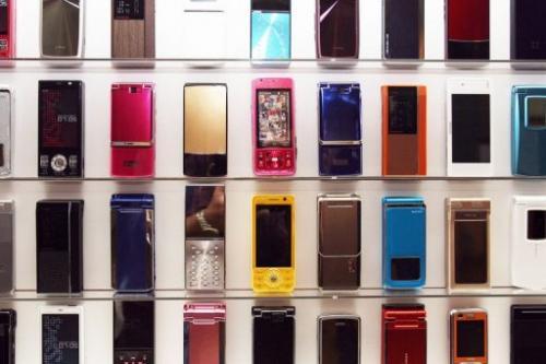 NTT DoCoMo's mobile phones on display in Tokyo, November 1, 2007