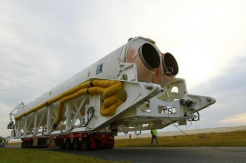 Orbital Sciences' Antares rocket is pictured at NASA's Wallops Flight Facility in Virginia on October 1, 2012