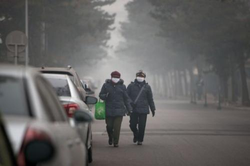 People wearing masks walk down a road during severe pollution in Beijing on January 29, 2013