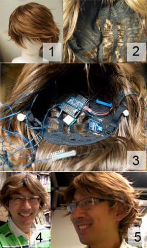 "Photos provided by Sony Computer Labolatory on November 28, 2013 shows a ""SmartWig"", which can read the wearer's brain"