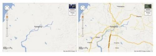 Pictures obtained January 29, 2013 courtesy of Google shows before (L) and after (R) Google Maps images of North Korea