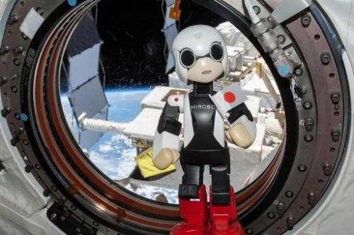 Pint-sized Japanese android Kirobo speaks from inside the International Space Station (ISS), on August 21, 2013