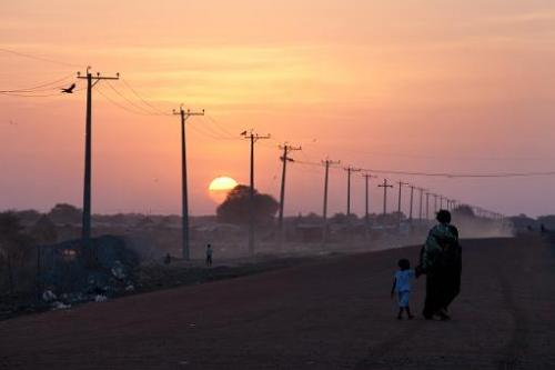 Power lines alongside a road in Abyei, Sudan, on January 15, 2011