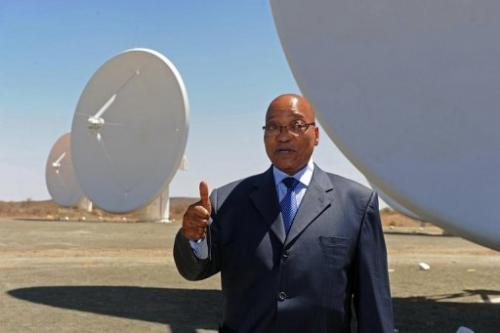 President Jacob Zuma visiting the Square Kilometre Array infrastructure in the Northern Cape on October 9, 2012