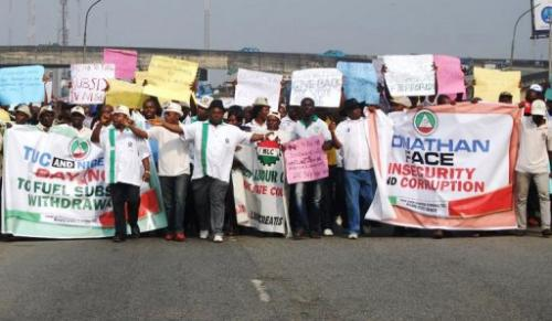 Protesters march against corruption in the streets of Port Harcourt, Niger Delta Rivers State on January 10, 2012
