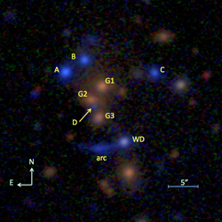 Quasar observed in 6 separate light reflections