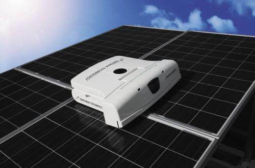 Robot with brush, water, wiper tackles solar panel cleaning