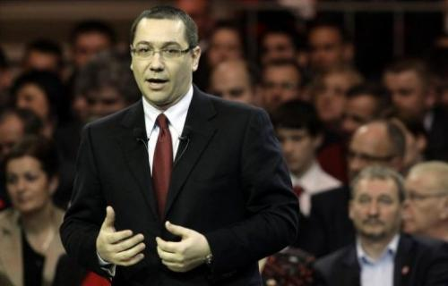 Romanian Prime Minister Victor Ponta speaks on March 9, 2013 in Budapest