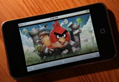 "Rovio, the makers of the hugely popular mobile game ""Angry Birds"", announced a 57-percent rise in net profit last year"