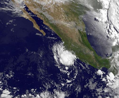 Satellite shows tropical storm dalila hugging Mexico's southwestern coast
