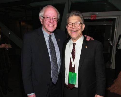 Senators Bernie Sanders and Al Franken attend the 2013 Green Inaugural Ball at NEWSEUM, January 20, 2013, Washington, DC