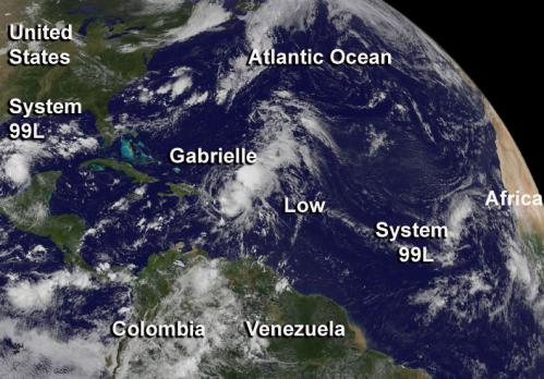 Sept. 5, 2013 update 2 -- satellite data shows a very active tropical Atlantic, Gabrielle weakens