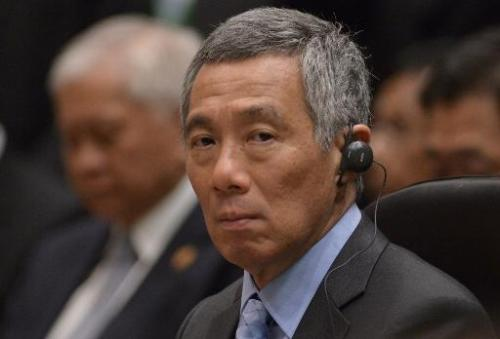 Singapore Prime Minister Lee Hsien Loong in Bandar Seri Begawan on October 10, 2013