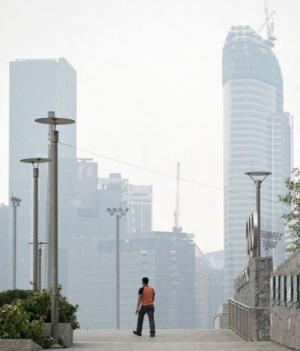 Singapore's financial district is seen shrouded in smoke on October 22, 2010 from forest fires in  Sumatra