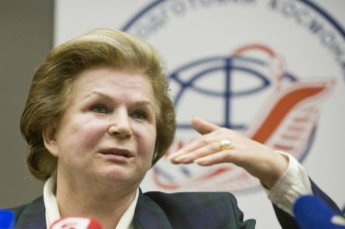 Soviet astronaut Valentina Tereshkova speaks during a press conference in Star City outside Moscow, on June 7, 2013