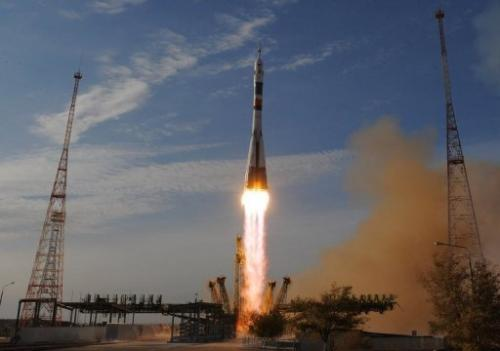 Soyuz TMA-06M spacecraft blasts off from the Russian leased Baikonur cosmodrome in Kazakhstan, on October 23, 2012