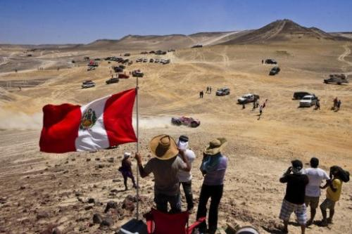Spectators at the 2012 Dakar Rally, Stage 13 Nasca to Pisco, Peru on January 14, 2012
