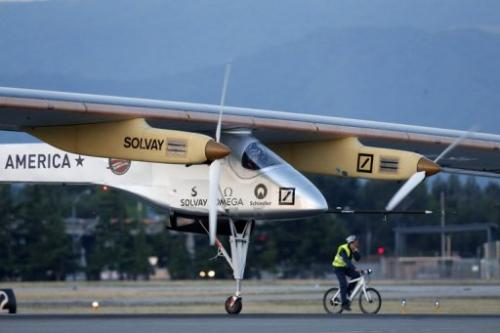 Swiss adventurer Bertrand Piccard takes off in the Solar Impulse airplane in Mountain View, California on May 3, 2013