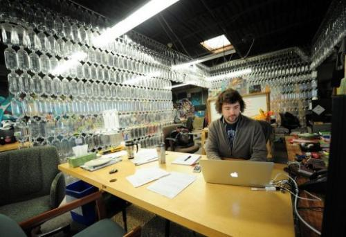 TerraCycle CEO Tom Szaky works in his office at the company's headquarters in Trenton, New Jersey, on January 10, 2013