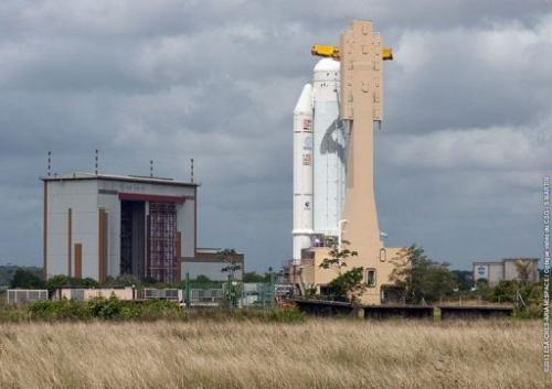 The Ariane 5 VA213 moves to final assembly building at Kourou space center in this Airanespace photo from March 11, 2013