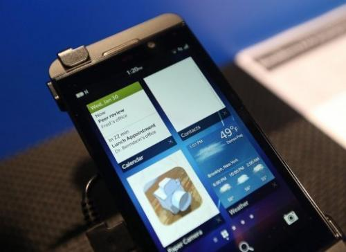 The Blackberry Z10 pictured at the BlackBerry 10 launch event at Pier 36 in New York on January 30, 2013