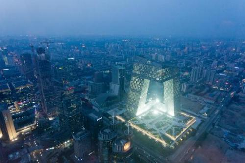 The China Central Television (CCTV) tower amid the Beijing skyline on May 16, 2012