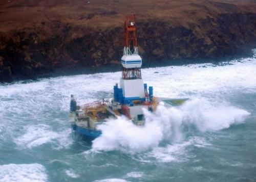 The conical mobile drilling unit Kulluk aground on the southeast side of Sitkalidak Island, Alaska, January 1, 2013