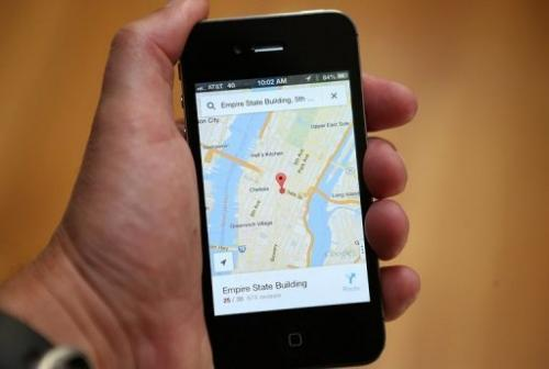 The Google Maps app is seen on an Apple iPhone 4S on December 13, 2012