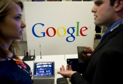 The Google stand is pictured during CES on the Hill in Washington, DC, on April 16, 2013