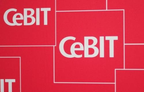 The logo of the CeBIT IT fair is pictured on February 28, 2011 in Hanover