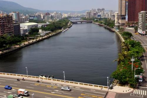 The Love River in the downtown area of the southern Taiwan city of Kaohsiung on September 22, 2009.