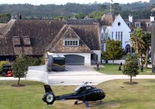 The mansion of Megaupload founder Kim Dotcom is shown in Auckland on January 20, 2013