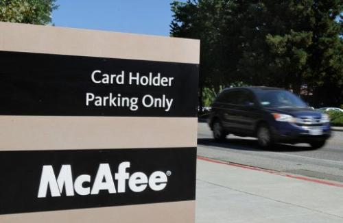 The McAfee logo outside the company's headquarters August 19, 2010 in Santa Clara, California