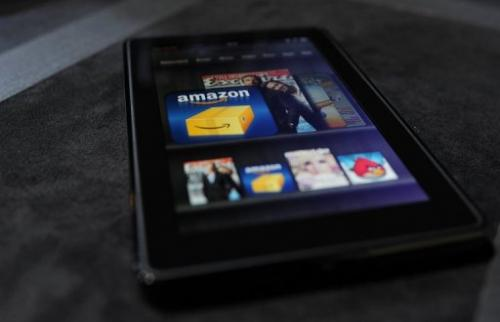 The new Amazon Kindle Fire tablet is displayed at a press conference in New York on September 28, 2011