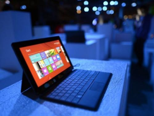 The new Microsoft Surface tablet  on display in New York on October 25, 2012
