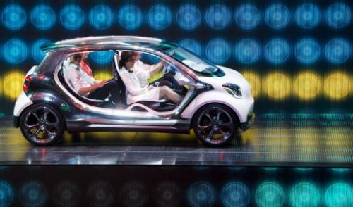 The new Smart FourJoy at the Mercedes booth during the IAA automobile show in Frankfurt, on September 9, 2013