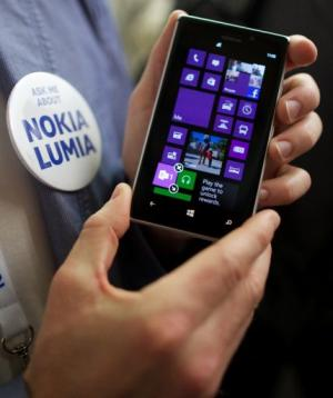 The Nokia Lumia 925 is displayed during a launch in London on May 14, 2013