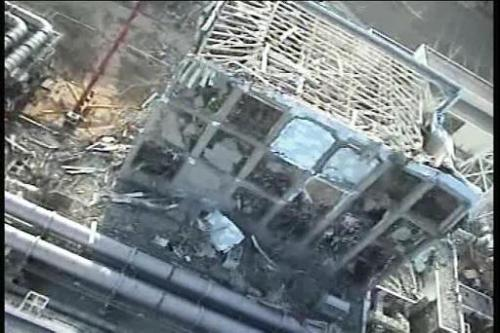 The number four reactor at Fukushima after the March 2011 earthquake and tsunami