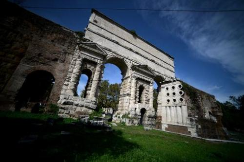 The Porta Maggiore in Rome where eight of 11 Roman aqueducts become combined, pictured October 8, 2013