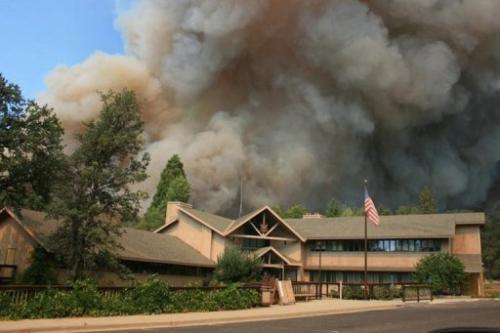 The Rim Fire burns close to Groveland Ranger Station near Yosemite National Park, California, August 23, 2013