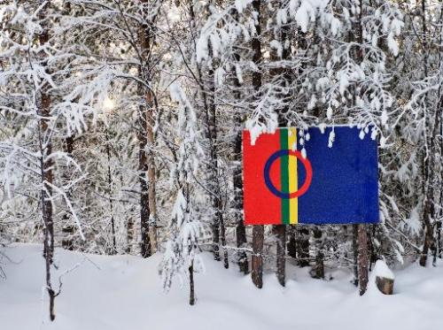 The Sami flag next to snow covered trees at the Kallak prospecting area near Randijaur village, 40 km north-west of Jokkmokk, in