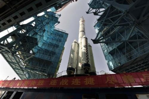 The Shenzhou-10 on its launch pad in Jiuquan, in the Gobi desert, on June 3, 2013