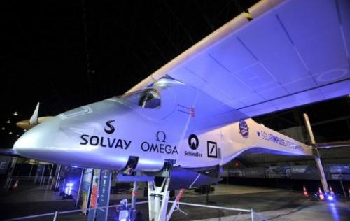 The Solar Impulse plane is seen at a press conference at the NASA Ames Research Center in California on March 28, 2013