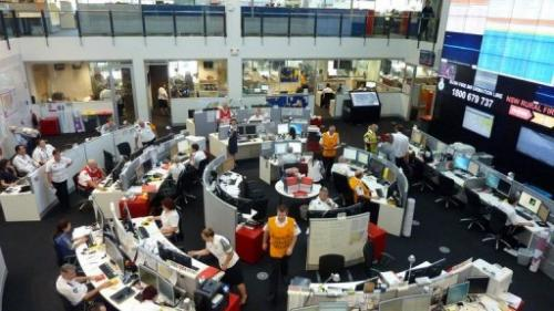 The state operations centre at the New South Wales Rural Fire Service (RFS) is pictured in Sydney on January 11, 2013