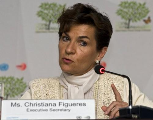 The United Nations' climate chief Christiana Figueres during a press conference in Cancun, Mexico, on November 29, 2010
