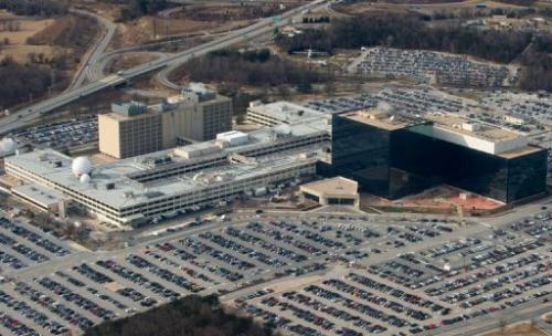 The US National Security Agency headquarters at Fort Meade, Maryland, on January 29, 2010