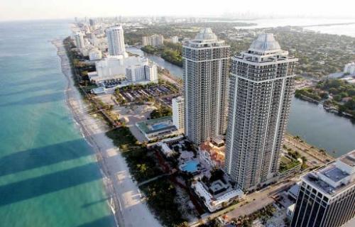 This April 24, 2005 aerial view shows Miami Beach