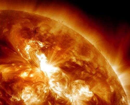 This January 23, 2012 image provided by NASA shows a solar flare erupting on the Sun's northeastern hemisphere