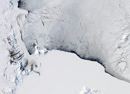 This NASA Aqua satellite image shows the Western Ross Sea and Ice Shelf in Antarctica, pictured on October 16, 2012