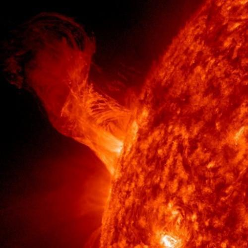 This NASA image shows a solar eruption as it gracefully rises up from the Sun on December 31, 2012